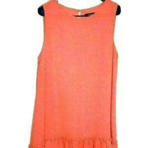 Calvin Klein Dress 14 Peach Orange Sheath Flounce